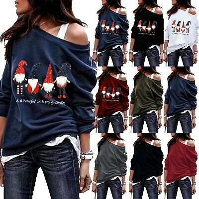 Womens Off The Shoulder Jumper Ladies Tops Oversized Loose Blouse Sweater Casual • 12.99£