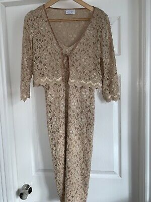 Principles Dress And Jacket Set Size 12 Golden Cream Lace Perfect • 11£