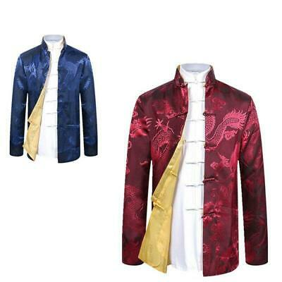$48.98 • Buy Mens Tang Suit Tops Thin Coat Chinese Style Show Stand Collar Jackets Shirt New