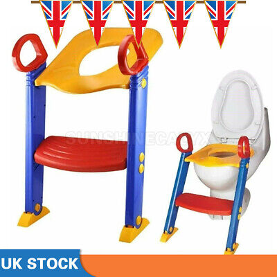 Childrens Toilet Seat & Ladder Toddler Training Step Up For Kids Easy Fold Down  • 10.44£