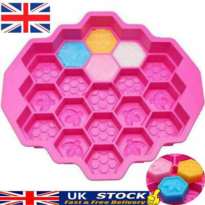 19 Cell Silicone Bee Honeycomb Cake Chocolate Soap Bakeware Mold Mould Cand • 5.89£