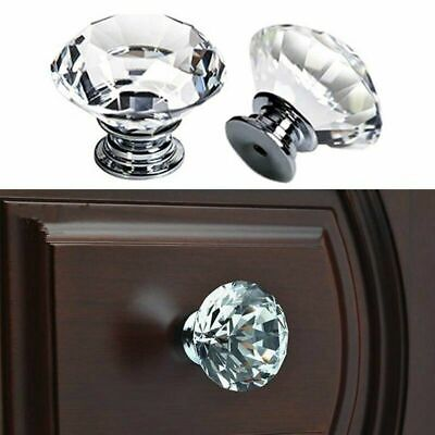 4PCS Clear Crystal Glass Door Knobs Drawer Cabinet Furniture Handle DIY 20~40mm • 3.99£