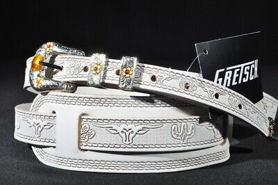 $ CDN50.59 • Buy Gretsch Tooled Leather Guitar Strap White  New