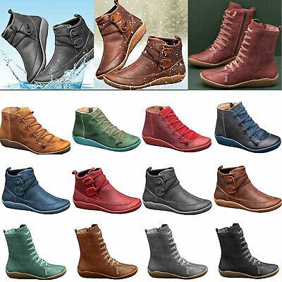 Women's Winter Boots Casual Arch Support Ankle Boots Wedge Heel Flat Shoes Size • 15.69£