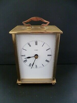 VINTAGE ENGLISH MADE SOLID BRASS QUARTZ CARRIAGE CLOCK BY METAMEC VGC C1970s • 17.99£