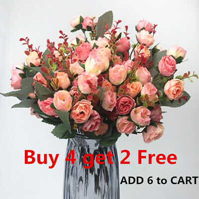 21HEADS ARTIFICIAL SILK SMALL FLOWERS ROSE BUNCH Wedding Home Outdoor Decor ZI • 3.98£