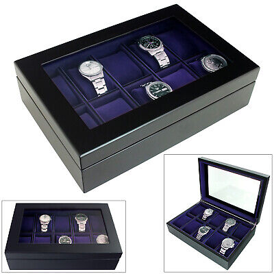 $ CDN61.74 • Buy Mele® Luxury Java Black Wooden 10 Watch Box Display Case - Purple Interior