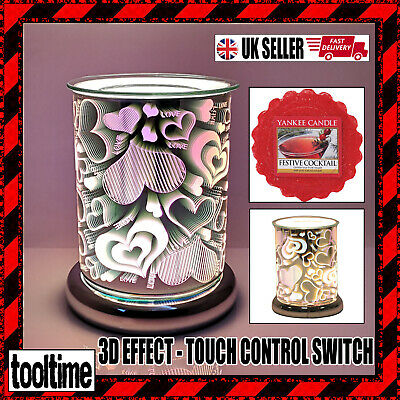 Electric Wax Melt Burner - Touch Control - 3d Love Design + Yankee Candle Melt • 24.99£