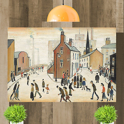 LS Lowry Street Scene People Canvas Wall Art Picture Print Painting Framed • 15.98£