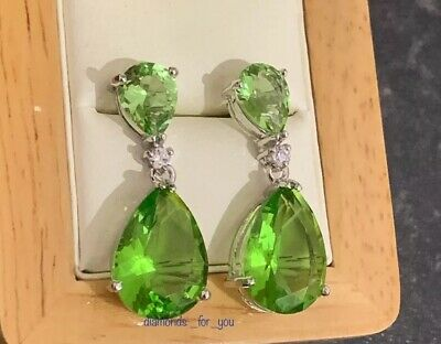 18K White Gold Peridot Drop Dangle Earrings • 18.99£