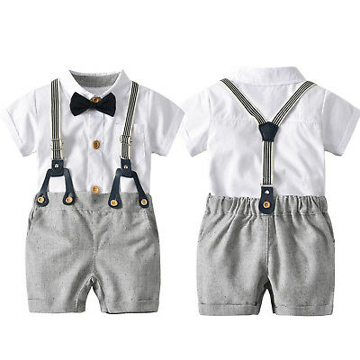 £13.58 • Buy Newborn Baby Boy Gentleman Outfit Formal Party Wedding Bowtie Shirt Shorts Suit