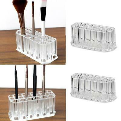 Clear Acrylic 26 Holes Makeup Brush Holder Cosmetics Pen Organizer Display Stand • 7.99£