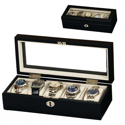 Mele & Co Black Satin Wood 5 Compartment Wooden Watch Storage Box & Display Case • 15.05£