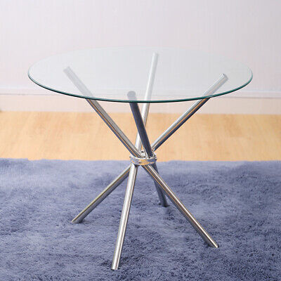 Modern Round Tempered Glass Dining Coffee Table With Cross Chrome Legs Furniture • 82.96£