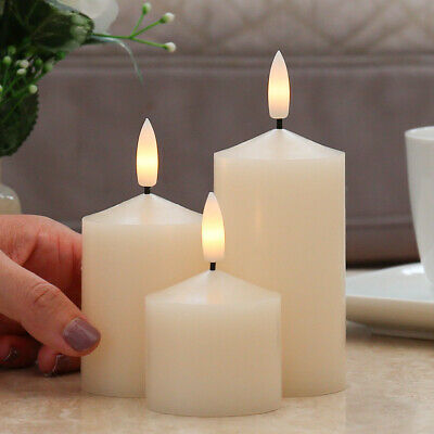 £12.99 • Buy Authentic Flame Battery Flickering LED Candle Lights Ivory Smoked Glass Jar Wax