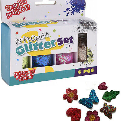 4 Colour Glitter Set Kids School Arts & Craft Sparkle Creative Work Painting New • 3.49£