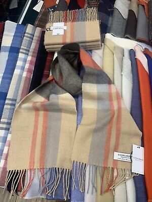100% Lambswool Tartan Scarf By Lochcarron | Belses Camel | Made In Scotland • 14.99£