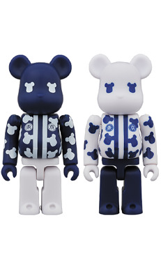 $89 • Buy Medicom Bearbrick Happi Tokyo Navy Blue & White 100 2pc Be@rbrick Happy Japan