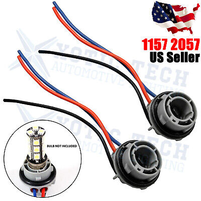 $8.99 • Buy 2x 1157 2057 2357 2357A LED Stop Turn Light Socket Harness Wire Pig Tail Plug