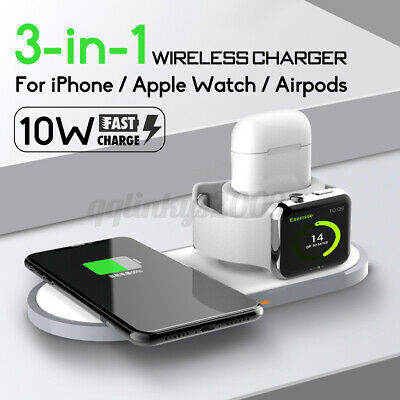 AU31.83 • Buy AU 3in1 QI Wireless Charger Charging Station Dock For AirPods Apple Watch