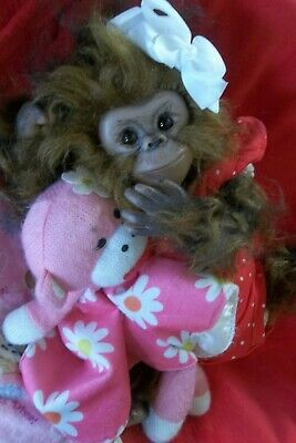 REBORN MONKEY BABY Girl Artist Doll APE CHIMP CHAZ Orangutan ANIMAL HYBRID OOAK • 138.57£
