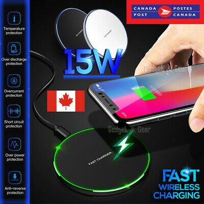 $ CDN11.45 • Buy 15W Qi Wireless Charging Charger For Pad IPhone 11 Pro XS Max XR Samsung S9 S10+