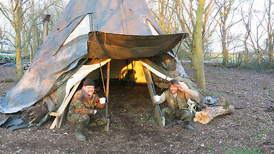 ARMY 6 METRE OFF GRID WIGWAM YURT TIPI TENT WITH FIRE AND FLUE (starter Pack) • 5£