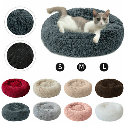 Comfy Calming Dog/Cat Bed Round Super Soft Plush Pet Bed Marshmallow Candycolors • 13.99£