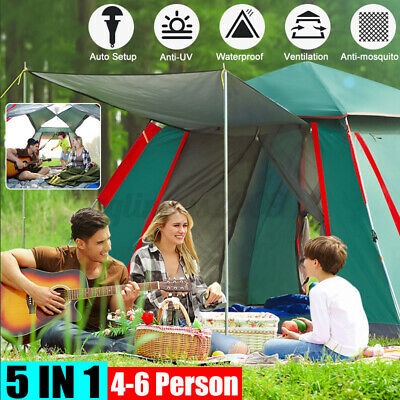 AU84.99 • Buy 3-6 Person Family Auto Open Up Waterproof Anti-UV  Camping Tent  W/ Storage Bag