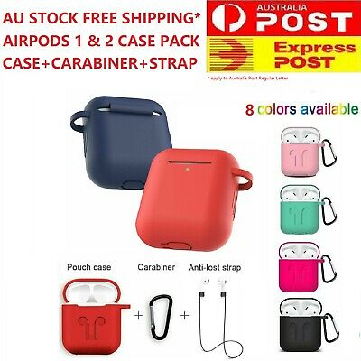 AU5.49 • Buy Premium Quality Airpods 1&2 Shockproof Silicone Case Cover Strap Carabiner Apple