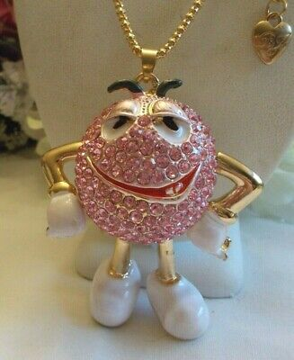 $28.99 • Buy Betsey Johnson Large Pink Crystal Inlay Peanut M & M Candy Doll Pendant Necklace