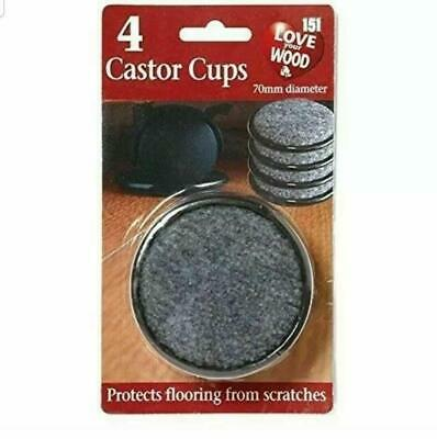 4 X LARGE PADDED CASTOR CUPS 70MM BLACK FURNITURE CHAIR LEG FLOOR PROTECTORS • 2.59£