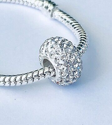 Sterling Silver 925 Made With Swarovski Clear Crystal Pandora-Fit Charm Bead UK • 9.95£