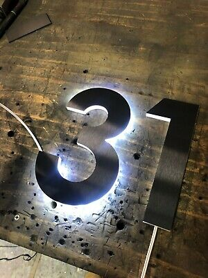 LED Illuminated Numbers - Black Stainless Steel - House Numbers Plaques Signs • 64.59£