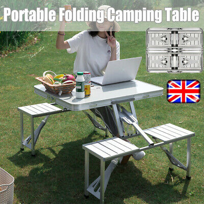Folding Aluminium Picnic Table Chairs Set Portable Outdoor Camping Garden Bench • 42.25£