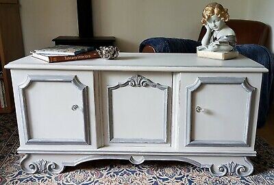 Lovely Vintage French Two Tone Grey Painted Distressed Sideboard Console Hall  • 195£