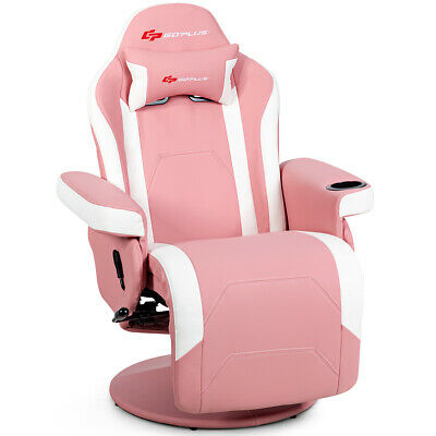 $329.99 • Buy Massage Gaming Recliner Reclining Racing Chair Swivel W/Cup Holder & Pillow Pink