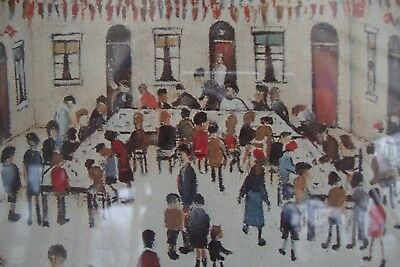 Lowry Print Matchstick Men And Buildings A Large Framed Under Glass Wall Picture • 95£