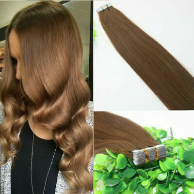 12A RUSSIAN TAPE IN HAIR Extensions COLOUR 6# BALAYAGE OMBRE 40Pcs 100g STRAIGHT • 119.99£