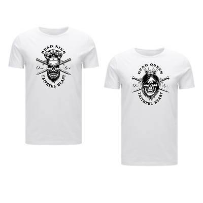 King And Queen T-shirt Skull Couples One Love Hearts Goals Gifts Matching Faith • 12.99£