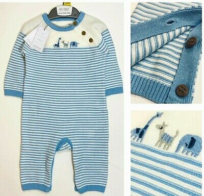 £8.95 • Buy BNWT Mothercare Baby Boys Blue Knitted Cotton Zoo Jungle Animals Outfit Romper