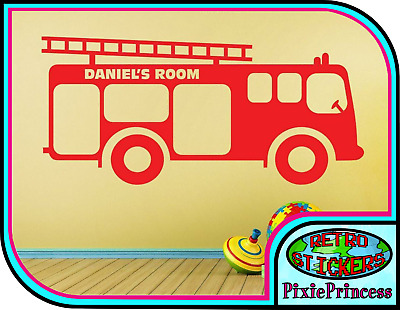 £12 • Buy Fire Engine Truck Personalised Wall Sticker Custom Name Boys Child Bedroom Decal