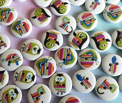 £1.75 • Buy 10 X Cute Printed Animal Childrens Buttons Wood NEW Craft Picture 15mm Animals