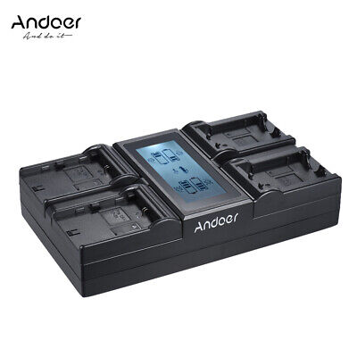 Andoer LP-E6 LP-E6N NPFW50 NP-FW50 4-Channel Digital Camera Battery Charger Y5A5 • 24.23£