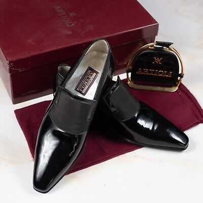 $ CDN400.89 • Buy NWB $1850 ARTIOLI Patent Leather Shoes Black 6UK/7US/40EU Made In Italy G Width