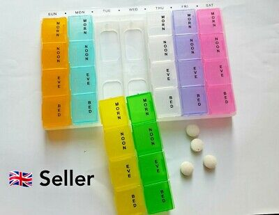 Large Monthly /Weekly /Daily Colour Pill Box Organiser 28 Compartment Dispenser  • 3.49£