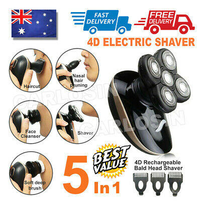AU25.95 • Buy 5In1 4D Electric Razor Shaver Waterproof Cordless Trimmer Bald Head Rechargeable