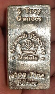 $ CDN249 • Buy 5 Oz  Monarch Metals Hand Poured Silver Bar