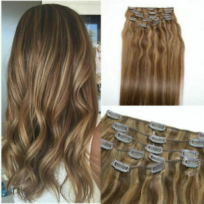 12A RUSSIAN CLIPS IN HUMAN HAIR EXTENSIONS 3#/5#/6# PIANO BALAYAGE STRAIGHT 120g • 109.99£