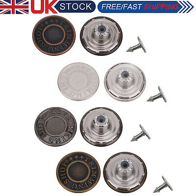17mm Hammer On Denim Replacement Jeans Buttons With Pins For Jacket Coat Trouser • 2.19£